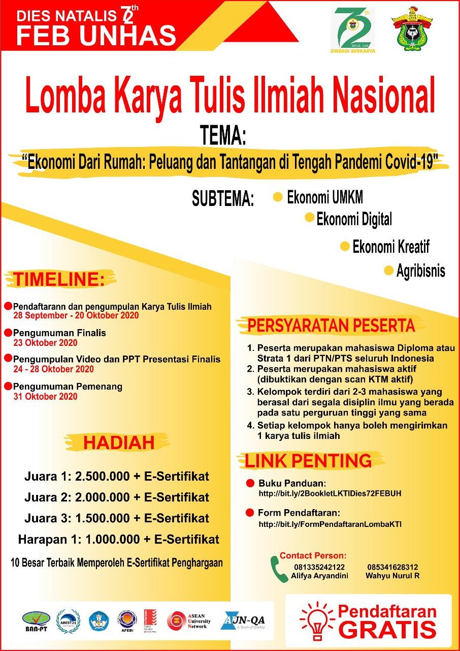 Lomba Karya Tulis Ilmiah Nasional Universitas Hasanuddin 2020 Informasi Lomba Biro Kemahasiswaan Dan Alumni