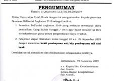 PENGUMUMAN - Pengembalian Biaya Pendidikan (Uang Kuliah Tunggal) Penerima Bidikmisi Angkatan 2019