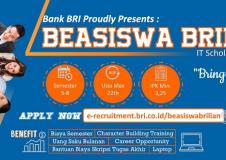 Beasiswa BRILiaN Scholarship Tahun 2020 dari PT. BANK RAKYAT INDONESIA (BRI)