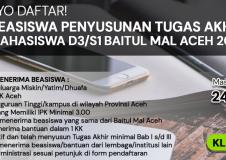 BEASISWA PENYUSUNAN TUGAS AKHIR/SKRIPSI BAGI MAHASISWA D3/S1 BAITUL MAL ACEH TAHUN 2021